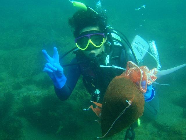 海洋高校海洋土木 石もずく採集